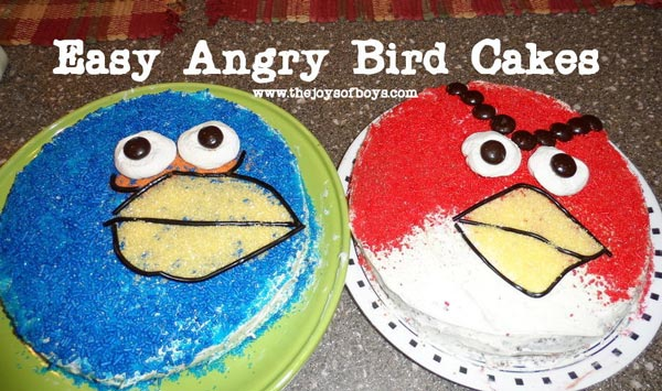 Easy Angry Birds cakes. Perfect for Angry birds birthday party. www.theoysofboys.comk