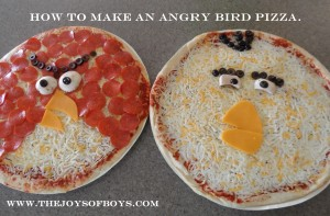 Angry Birds Pizza.  Perfect for an Angry Birds party.