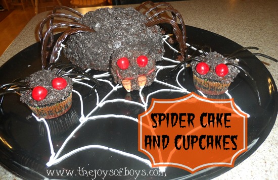 Easy spider cake and cupcakes the joys of boys for How to make halloween cupcake cakes