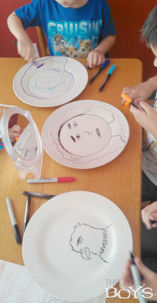 Here ... & Kid\u0027s Plates Made with Permanent Marker - The Joys of Boys