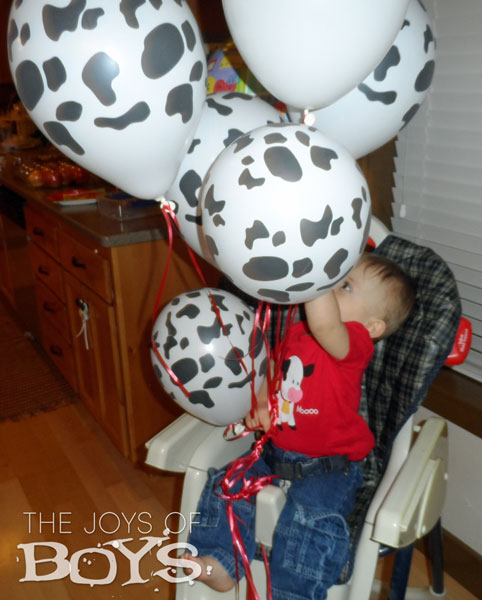 Cow print birthday balloons