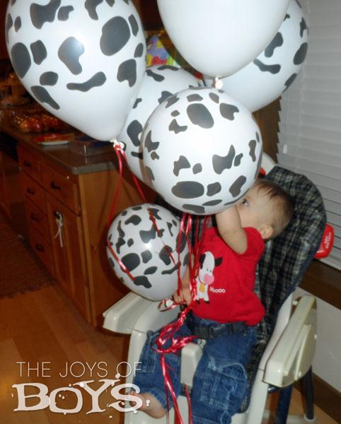 Cow print birthday balloons