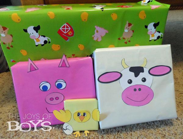 Farm animal birthday presents.