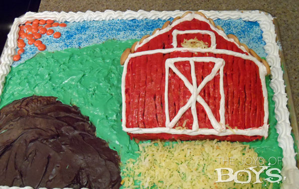 farm cake first birthday cake