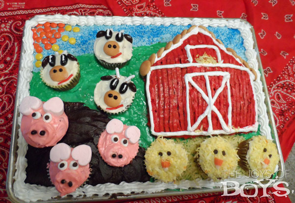 Farm Party Cake for Barnyard birthday party