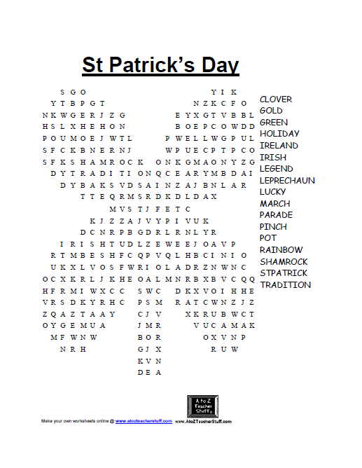 St Patrick's Day games : word search