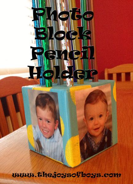 Photo Block Pencil holder Mod Podge washout