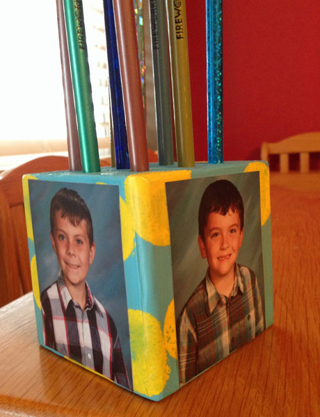 Photo block pencil holder