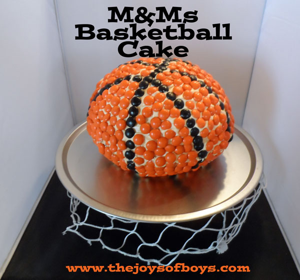 M&Ms basketball cake from TheJoysofBoys.com