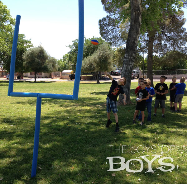 Sports Birthday Party Goal Post from Pool Noodles and PVC