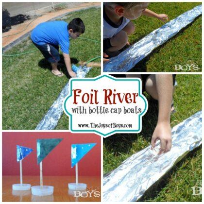 Foil River with Bottle cap boats