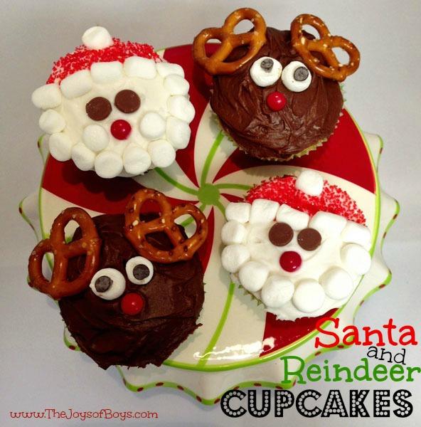 Christmas Cupcakes: Santa and Reindeer - The Joys of Boys