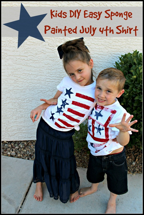Kids DIY Easy Sponge Painted July 4th Shirt