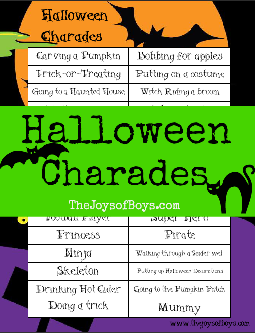 graphic relating to Halloween Printable Games identify Halloween Charades: Printable Halloween Recreation - The Joys of Boys