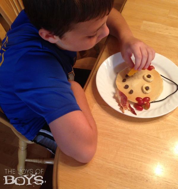 Eating Snowman Pancakes