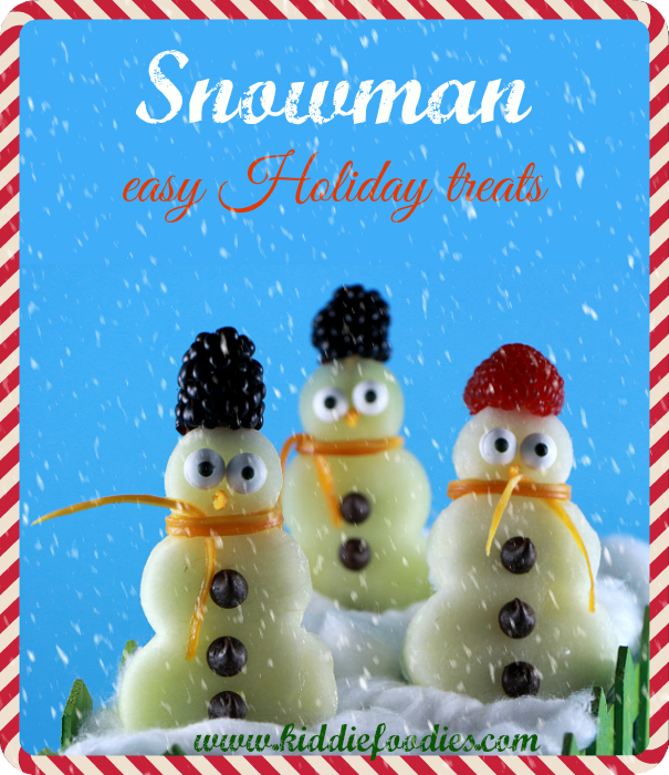 snowman holiday treat for kids from kiddie foodies snowman made with fruits on a stick easy