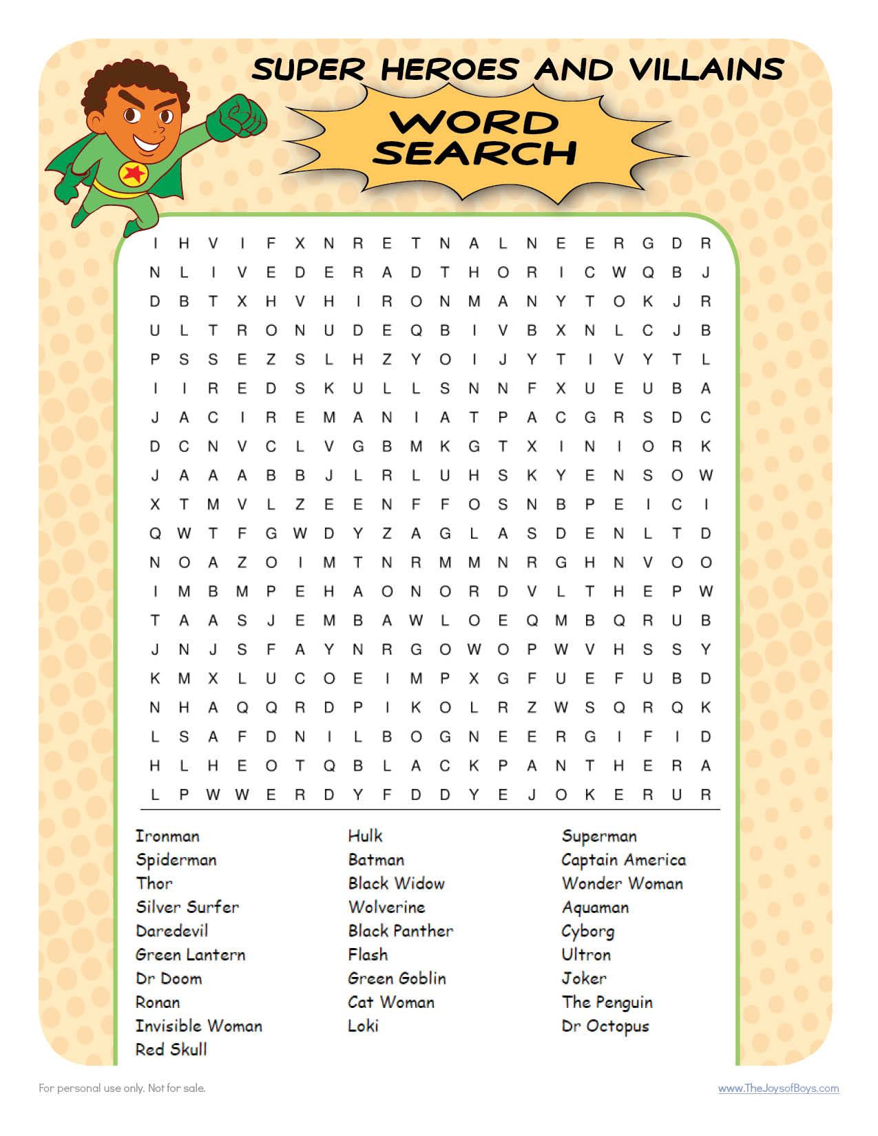 image regarding Superhero Crossword Puzzles Printable referred to as Superhero Term Look - Straightforward Occasion Activity