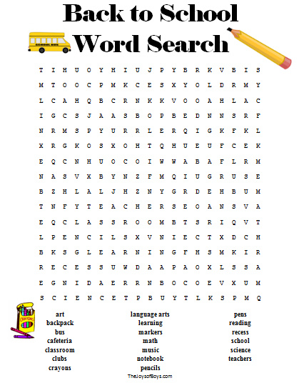 Back to School Word Search - Free Printable Learning ...