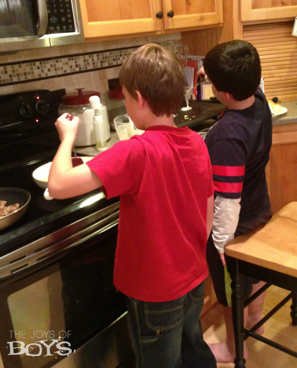 Cooking with boys