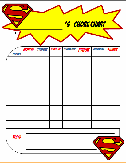 image relating to Printable Chore Chart for Kids named Free of charge Printable Chore Charts for Boys - The Joys of Boys