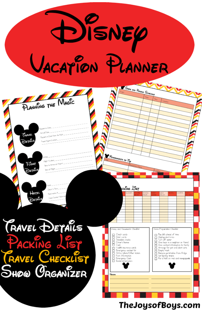 Disney Vacation Planner - The Joys of Boys