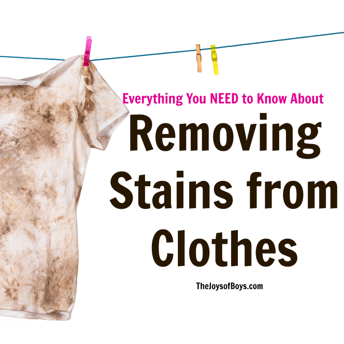 Removing stains from clothes