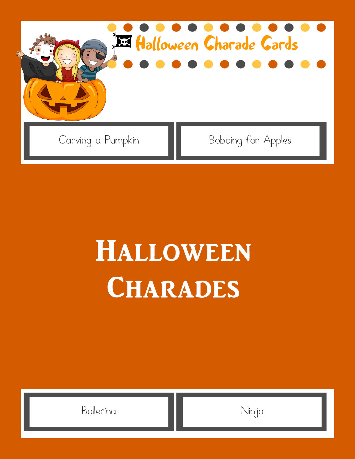 halloween charades: printable halloween game - the joys of boys