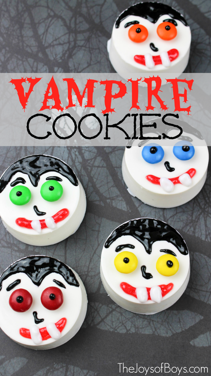 """These Vampire cookies are """"spook""""tacular! Kids and adults will love this fun Halloween treat. These vampire cookies are a great treat for a Halloween party."""