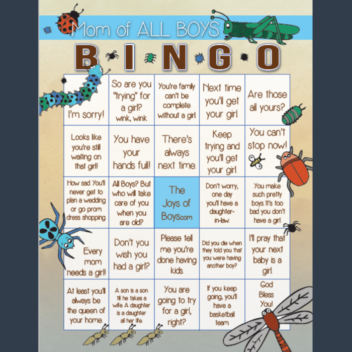 Mom of boys bingo