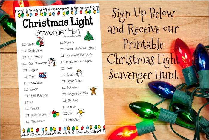 Printable Christmas light scavenger hunt