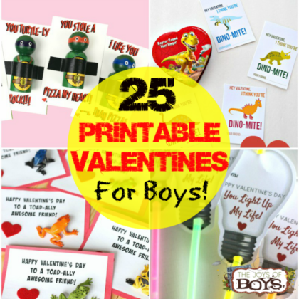 25 Printable Valentines for Boys