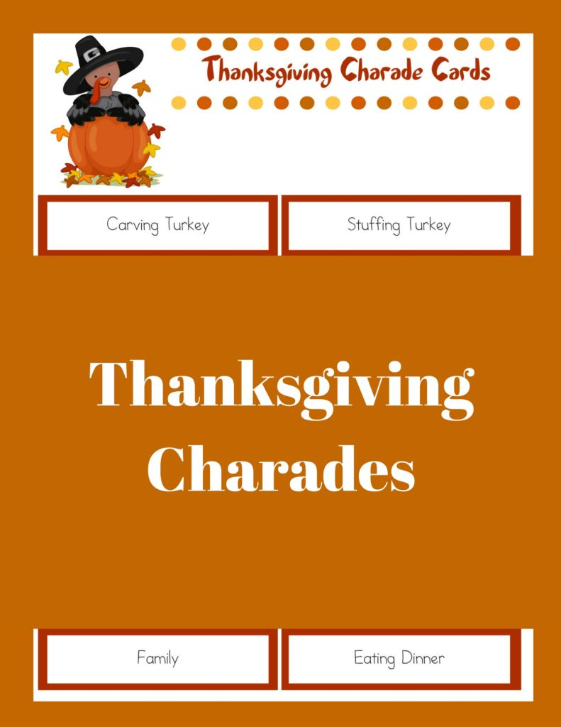 picture regarding Charades Printable named Printable Thanksgiving Online games: Thanksgiving Charades - The