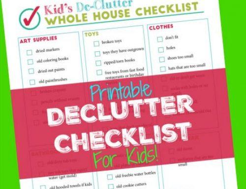 Printable Declutter Checklist for Kids Clutter