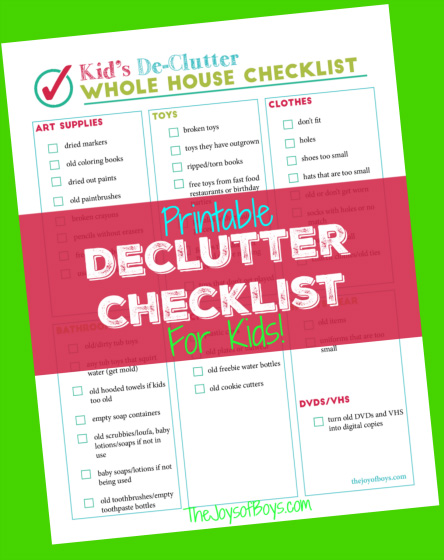 Printable declutter checklist for kid 39 s clutter for Declutter house plan