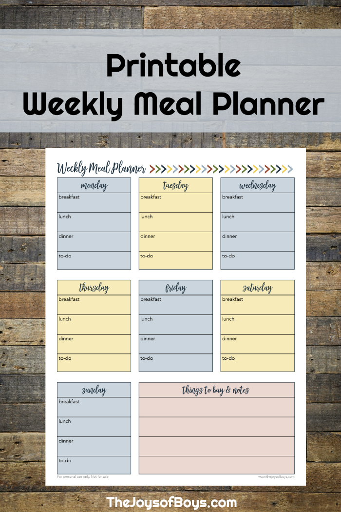Weekly Meal Planner Printable for Busy Families