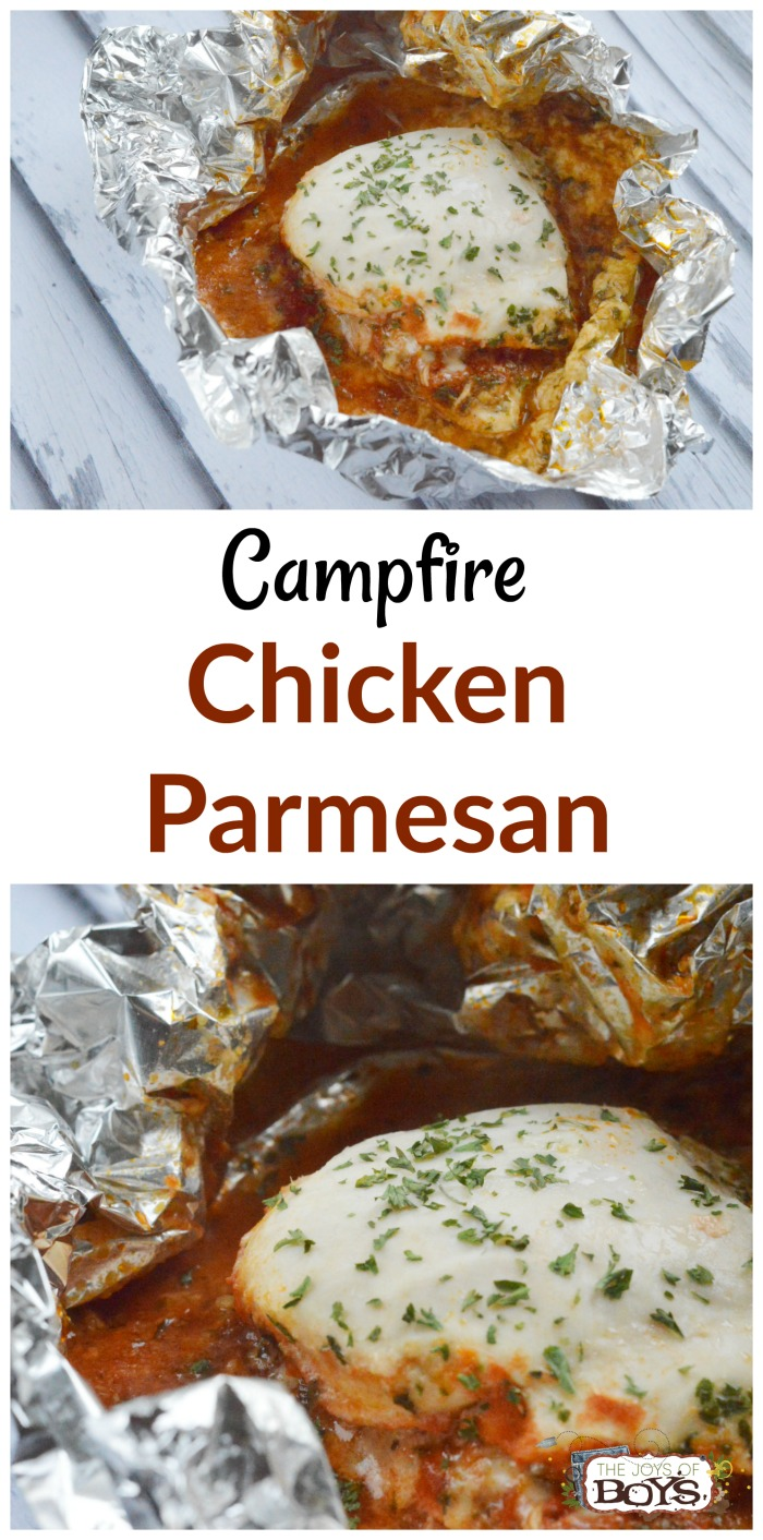 A fun variation on a regular tin foil dinner using chicken, marinara and parmesan cheese.