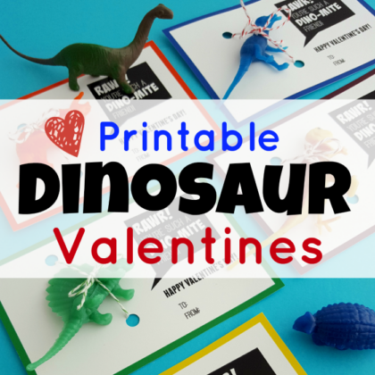 Printable dinosaur valentines. You're a Dino-mite friend Valentines. Just add a plastic dinosaur.