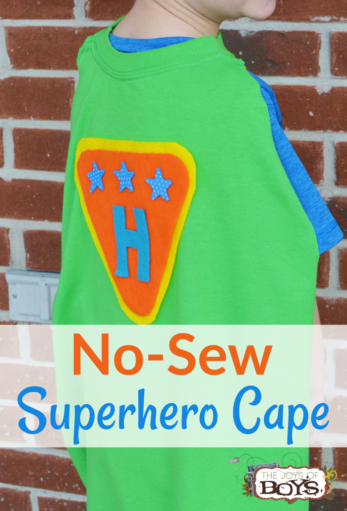 No-Sew Superhero Cape made from a t-shirt, felt and hot glue. Super simple to make!