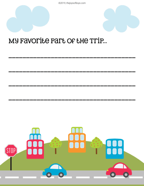 Printable Road Trip Journal for Kids