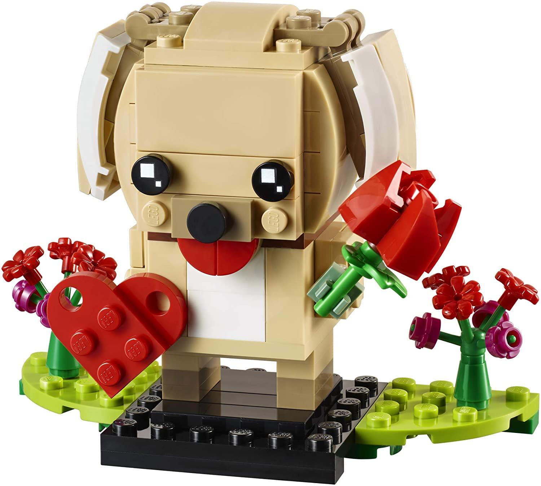 Valentine's Day LEGO puppy holding flowers